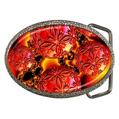 Flame Delights, Abstract Red Orange Belt Buckle (oval)