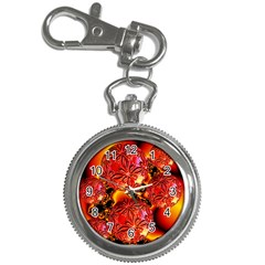 Flame Delights, Abstract Red Orange Key Chain Watch
