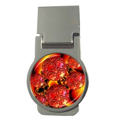 Flame Delights, Abstract Red Orange Money Clip (round)
