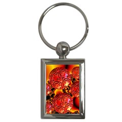 Flame Delights, Abstract Red Orange Key Chain (Rectangle)