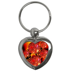 Flame Delights, Abstract Red Orange Key Chain (Heart)