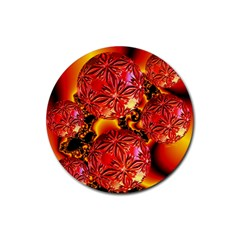 Flame Delights, Abstract Red Orange Drink Coaster (Round)