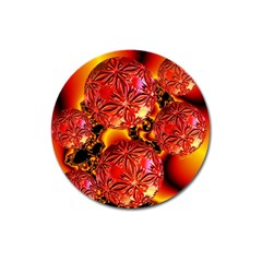 Flame Delights, Abstract Red Orange Magnet 3  (Round)