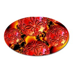 Flame Delights, Abstract Red Orange Magnet (Oval)
