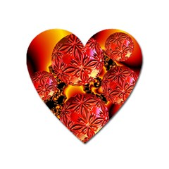 Flame Delights, Abstract Red Orange Magnet (Heart)
