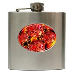 Flame Delights, Abstract Red Orange Hip Flask