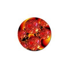 Flame Delights, Abstract Red Orange Golf Ball Marker