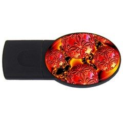 Flame Delights, Abstract Red Orange 1GB USB Flash Drive (Oval)