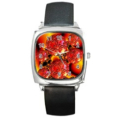 Flame Delights, Abstract Red Orange Square Leather Watch