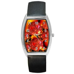 Flame Delights, Abstract Red Orange Tonneau Leather Watch