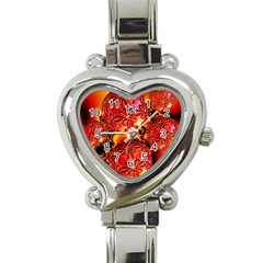 Flame Delights, Abstract Red Orange Heart Italian Charm Watch