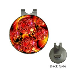 Flame Delights, Abstract Red Orange Hat Clip with Golf Ball Marker