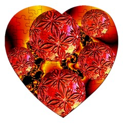 Flame Delights, Abstract Red Orange Jigsaw Puzzle (Heart)