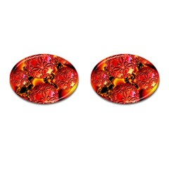 Flame Delights, Abstract Red Orange Cufflinks (Oval)