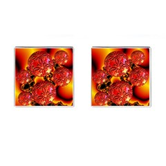 Flame Delights, Abstract Red Orange Cufflinks (Square)