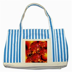 Flame Delights, Abstract Red Orange Blue Striped Tote Bag