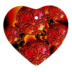 Flame Delights, Abstract Red Orange Heart Ornament (two Sides)