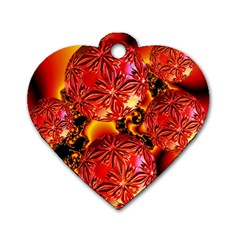 Flame Delights, Abstract Red Orange Dog Tag Heart (One Sided)