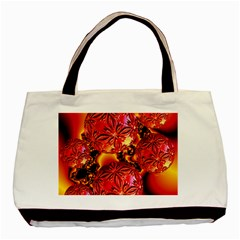 Flame Delights, Abstract Red Orange Twin-sided Black Tote Bag