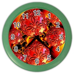 Flame Delights, Abstract Red Orange Wall Clock (Color)