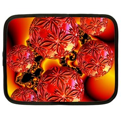 Flame Delights, Abstract Red Orange Netbook Sleeve (large)