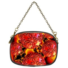 Flame Delights, Abstract Red Orange Chain Purse (Two Sided)
