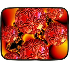 Flame Delights, Abstract Red Orange Mini Fleece Blanket (Two Sided)