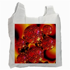 Flame Delights, Abstract Red Orange White Reusable Bag (two Sides)