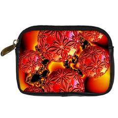 Flame Delights, Abstract Red Orange Digital Camera Leather Case