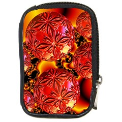 Flame Delights, Abstract Red Orange Compact Camera Leather Case