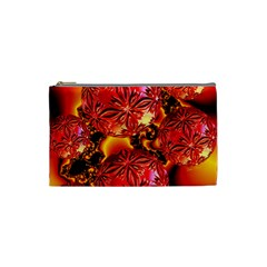 Flame Delights, Abstract Red Orange Cosmetic Bag (Small)