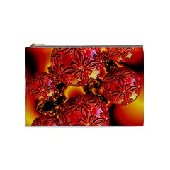 Flame Delights, Abstract Red Orange Cosmetic Bag (Medium)