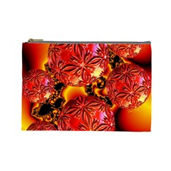 Flame Delights, Abstract Red Orange Cosmetic Bag (Large)