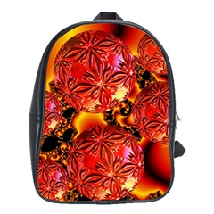 Flame Delights, Abstract Red Orange School Bag (large)