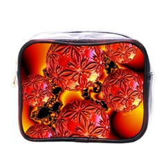 Flame Delights, Abstract Red Orange Mini Travel Toiletry Bag (one Side)