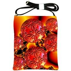 Flame Delights, Abstract Red Orange Shoulder Sling Bag
