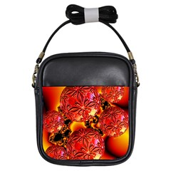 Flame Delights, Abstract Red Orange Girl s Sling Bag