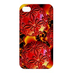 Flame Delights, Abstract Red Orange Apple iPhone 4/4S Premium Hardshell Case