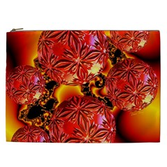 Flame Delights, Abstract Red Orange Cosmetic Bag (xxl)