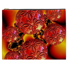 Flame Delights, Abstract Red Orange Cosmetic Bag (XXXL)