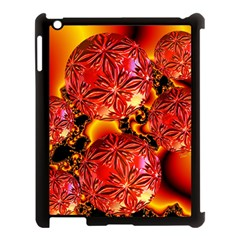 Flame Delights, Abstract Red Orange Apple iPad 3/4 Case (Black)