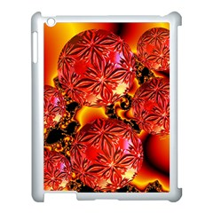 Flame Delights, Abstract Red Orange Apple iPad 3/4 Case (White)