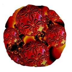 Flame Delights, Abstract Red Orange 18  Premium Round Cushion