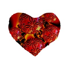 Flame Delights, Abstract Red Orange 16  Premium Heart Shape Cushion