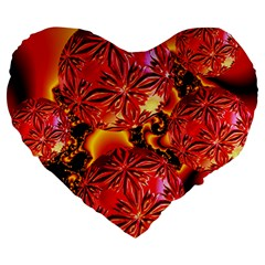 Flame Delights, Abstract Red Orange 19  Premium Heart Shape Cushion