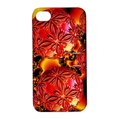 Flame Delights, Abstract Red Orange Apple iPhone 4/4S Hardshell Case with Stand