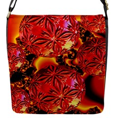 Flame Delights, Abstract Red Orange Flap Closure Messenger Bag (Small)