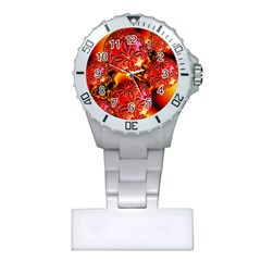 Flame Delights, Abstract Red Orange Nurses Watch