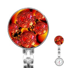 Flame Delights, Abstract Red Orange Stainless Steel Nurses Watch