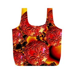 Flame Delights, Abstract Red Orange Reusable Bag (m)